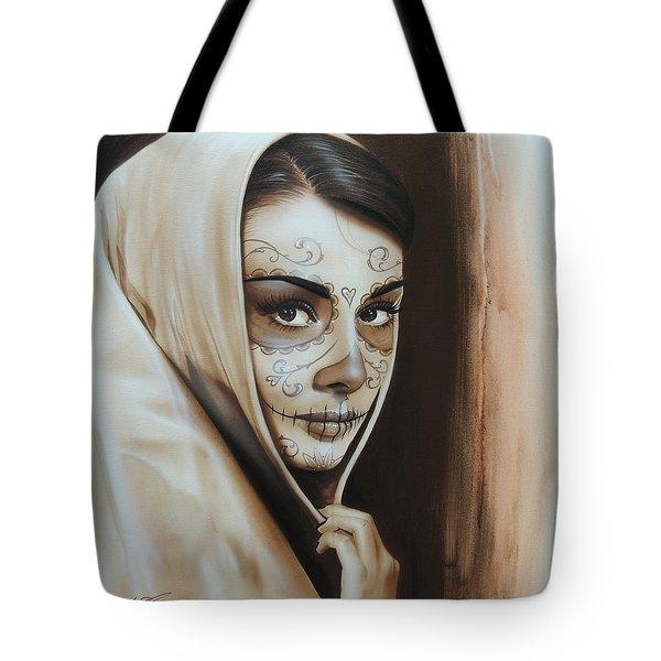 Audrey Hepburn - ' Hepburn De Los Muertos ' Tote Bag by Christian Chapman Art