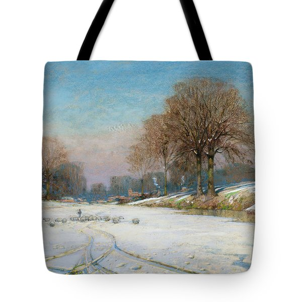 Herding Sheep In Wintertime Tote Bag by Frank Hind