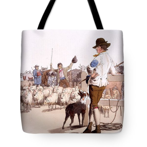 Herdsmen Of Sheep And Cattle, From The Tote Bag by William Henry Pyne