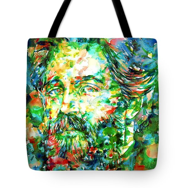 Herman Melville Watercolor Portrait Tote Bag by Fabrizio Cassetta