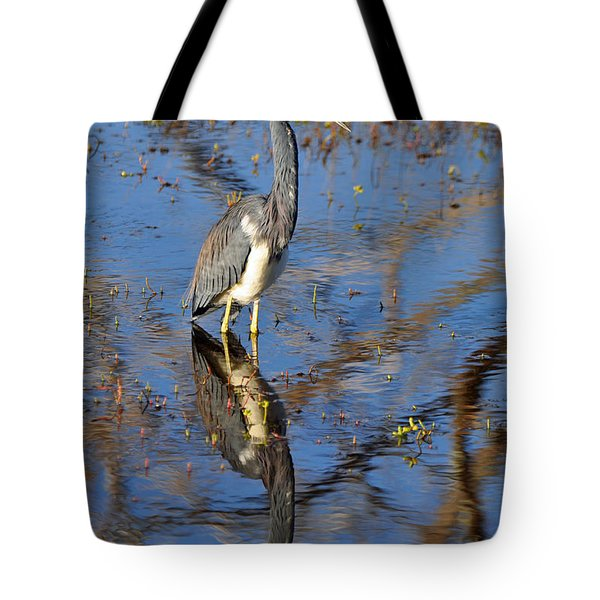 Heron and Reflection in Jekyll Island's Marsh Tote Bag by Bruce Gourley