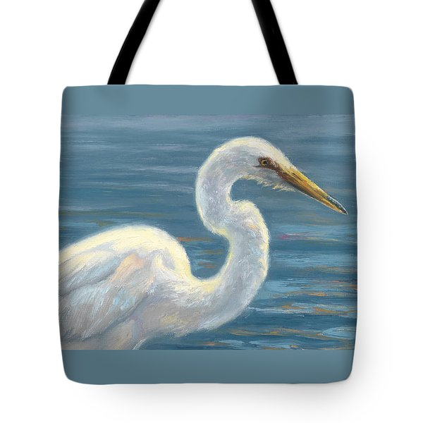 Heron Light Tote Bag by Lucie Bilodeau
