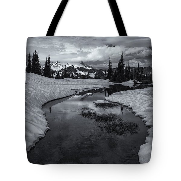 Hidden Beneath The Clouds Tote Bag by Mike  Dawson