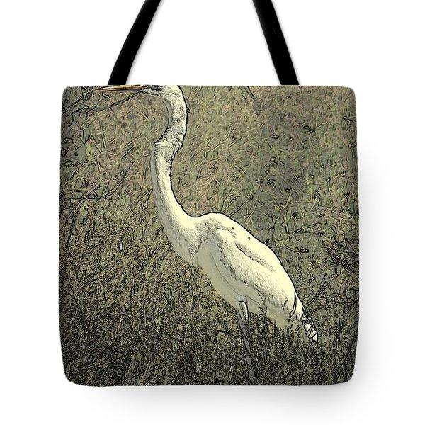 Hidden Egret Tote Bag by Carol Groenen