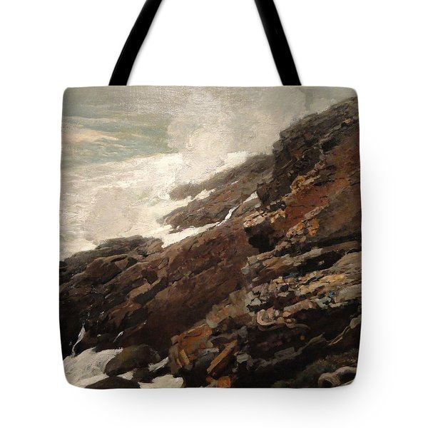 High Cliff Coast Of Maine 1894 Tote Bag by Philip Ralley