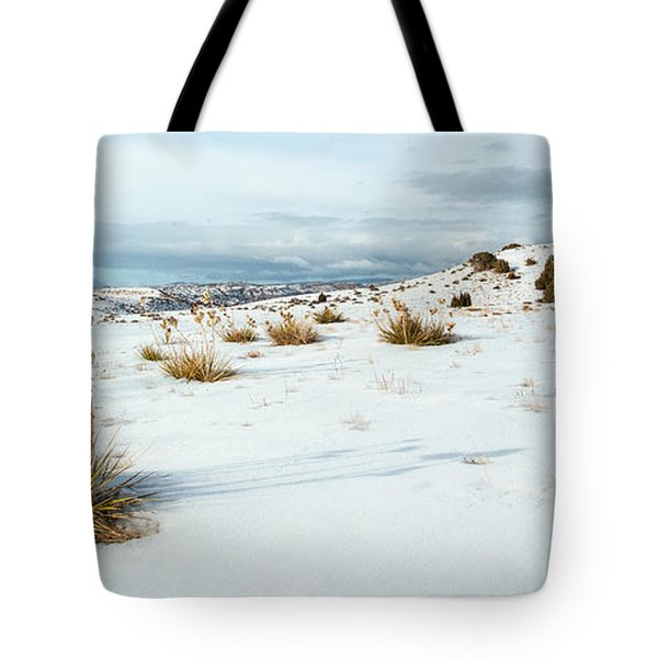 High Desert Snow Tote Bag by Betty Wiley