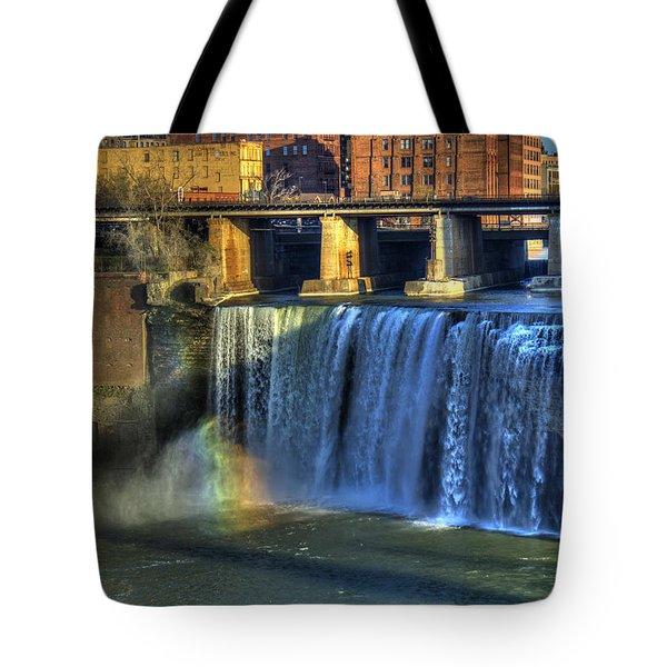 High Falls Rainbow Tote Bag by Tim Buisman