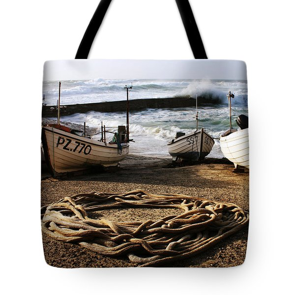 High Tide In Sennen Cove Cornwall Tote Bag by Terri Waters