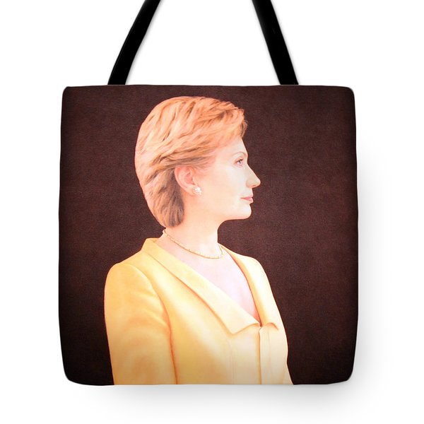 Hillary Rodham Clinton Up Close Tote Bag by Cora Wandel