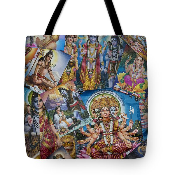 Hindu Posters Tote Bag by Tim Gainey