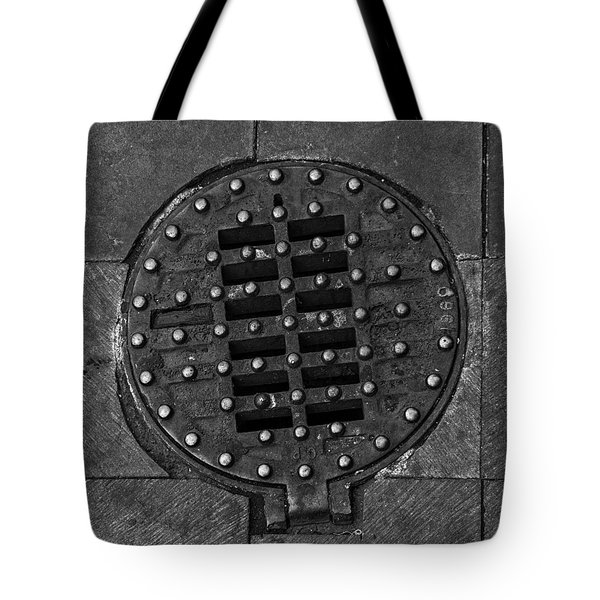 Hinged Manhole Cover Tote Bag by Lynn Palmer