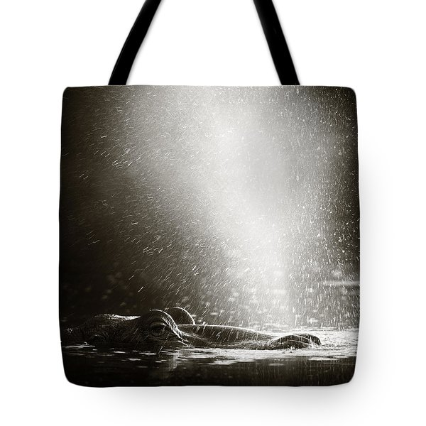 Hippo Blowing  Air Tote Bag by Johan Swanepoel