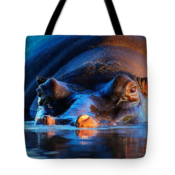 Hippopotamus  At Sunset Tote Bag by Johan Swanepoel