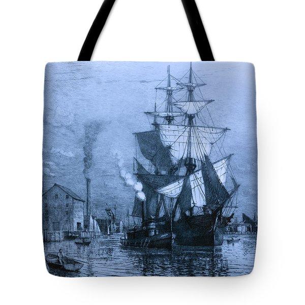 Historic Seaport Blue Schooner Tote Bag by John Stephens