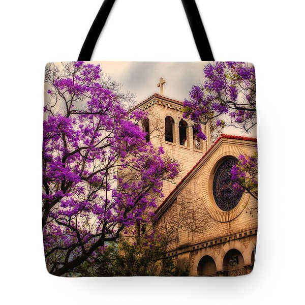 Historic Sierra Madre Congregational Church Among The Purple Jacaranda Trees  Tote Bag by Jerry Cowart