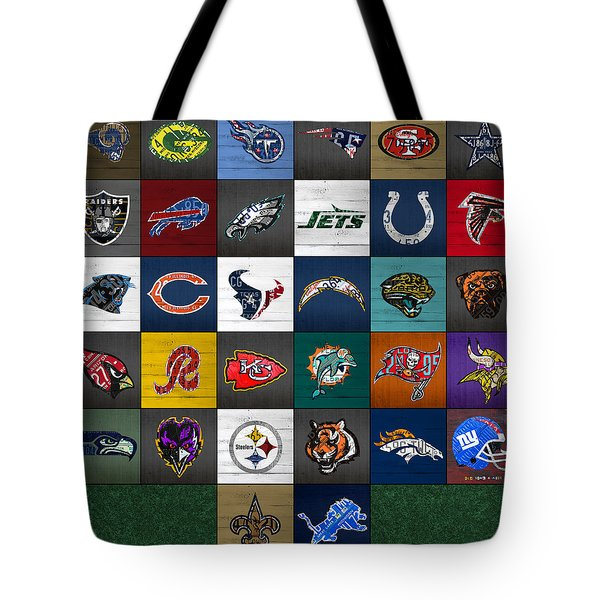 Hit The Gridiron Football League Retro Team Logos Recycled Vintage License Plate Art Tote Bag by Design Turnpike