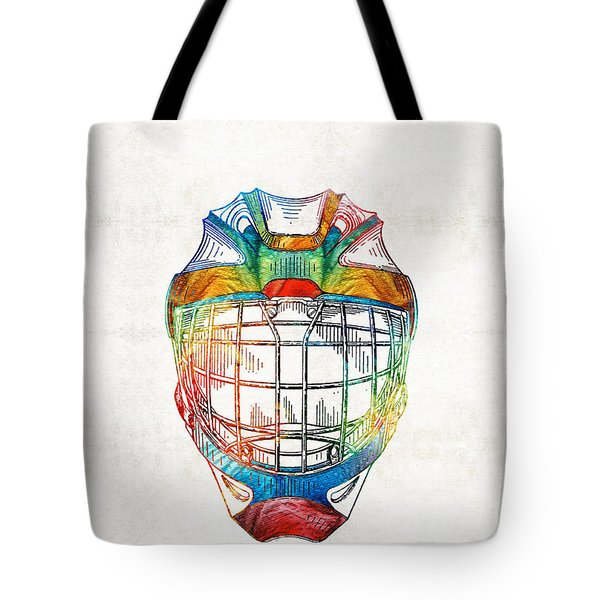 Hockey Art - Goalie Mask Patent - Sharon Cummings Tote Bag by Sharon Cummings
