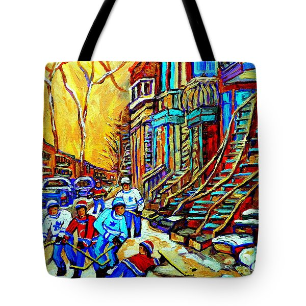 HOCKEY ART MONTREAL WINTER SCENE WINDING STAIRCASES KIDS PLAYING STREET HOCKEY PAINTING  Tote Bag by CAROLE SPANDAU
