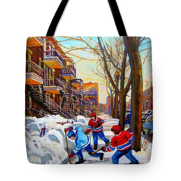 Hockey Art - Paintings Of Verdun- Montreal Street Scenes In Winter Tote Bag by Carole Spandau