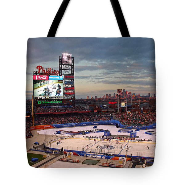 Hockey At The Ballpark Tote Bag by David Rucker