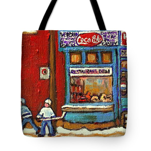 Hockey Game At The Corner Kik Cola Depanneur  Resto Deli  - Verdun Winter Montreal Street Scene  Tote Bag by Carole Spandau