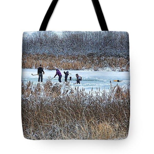 Hockey Joy Tote Bag by Kathy Bassett