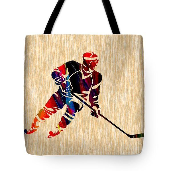 Hockey Player Tote Bag by Marvin Blaine