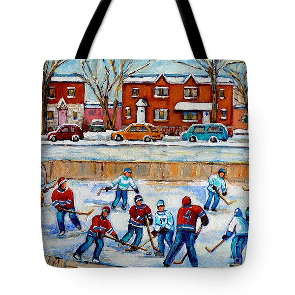 HOCKEY RINK AT VAN HORNE MONTREAL Tote Bag by CAROLE SPANDAU