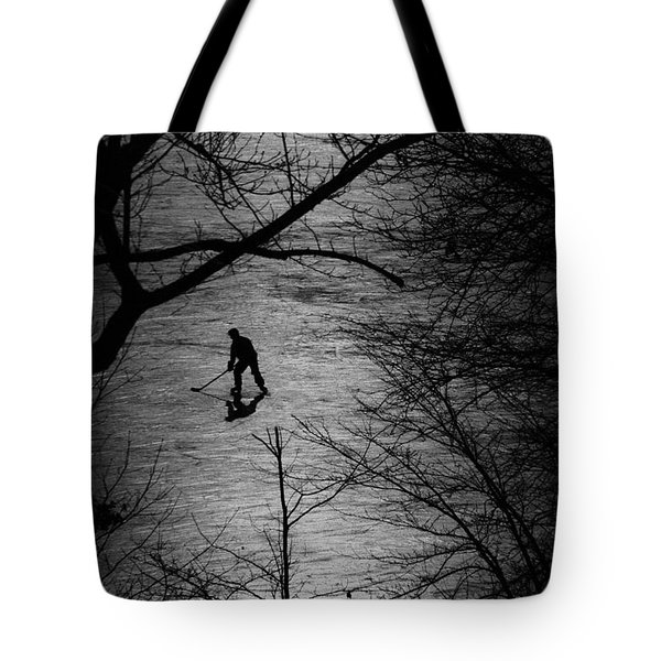 Hockey Silhouette Tote Bag by Andrew Fare