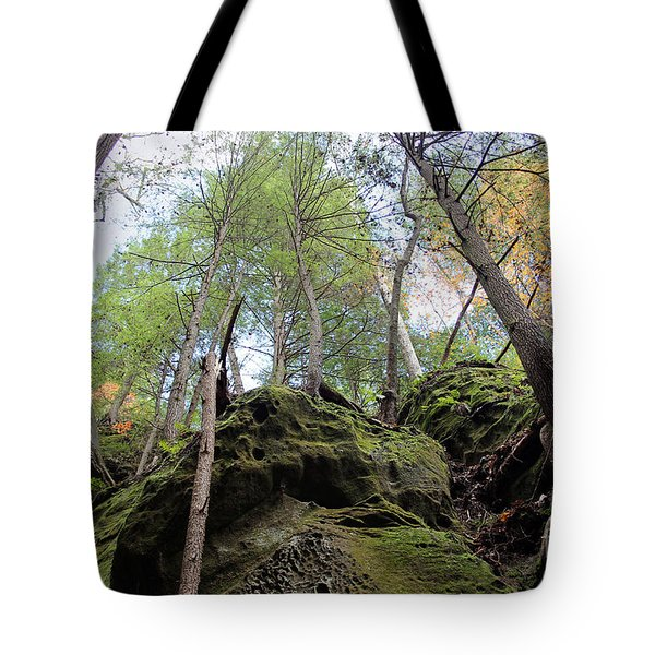 Hocking Hills Moss Covered Cliff Tote Bag by Karen Adams