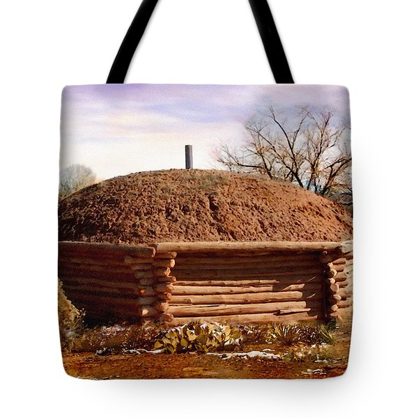 Hogan Monument Valley Winter Painting Tote Bag by Bob and Nadine Johnston
