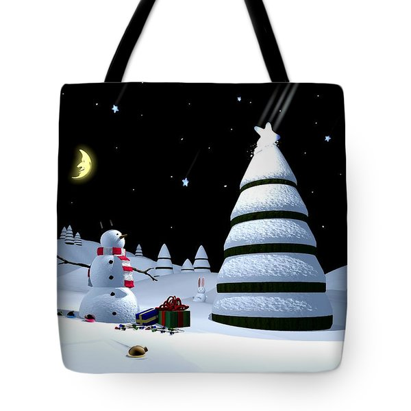 Holiday Falling Star Tote Bag by Cynthia Decker