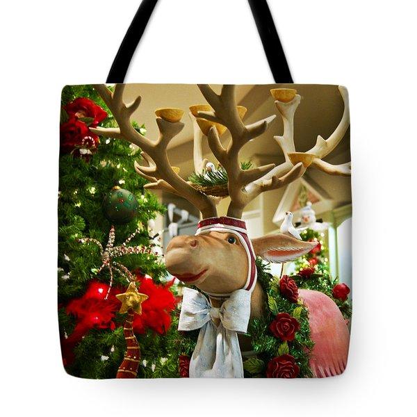 Holiday Reindeer Tote Bag by Jon Berghoff