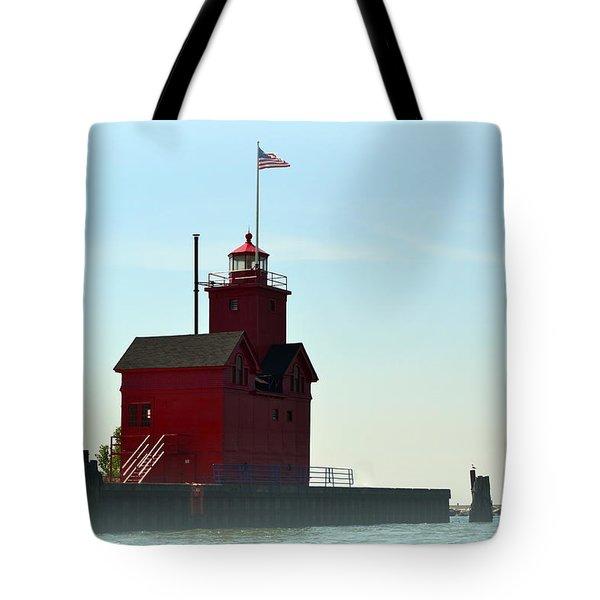 Holland Harbor Light Vignette Tote Bag by Michelle Calkins