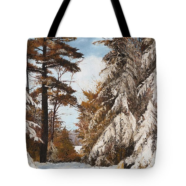 Holland Lake Lodge Road - Montana Tote Bag by Mary Ellen Anderson