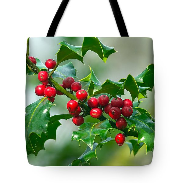 Holly Berries Tote Bag by Sharon  Talson