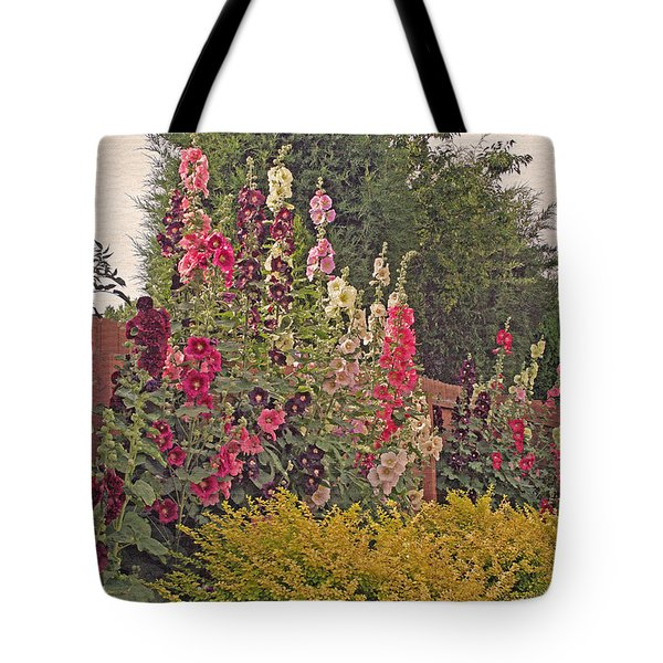 Hollyhocks Tote Bag by Kay Novy