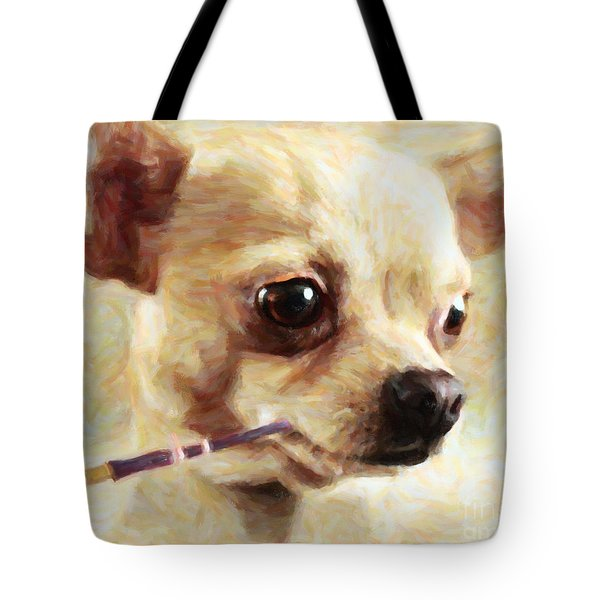 Hollywood Fifi Chika Chihuahua - Painterly Tote Bag by Wingsdomain Art and Photography