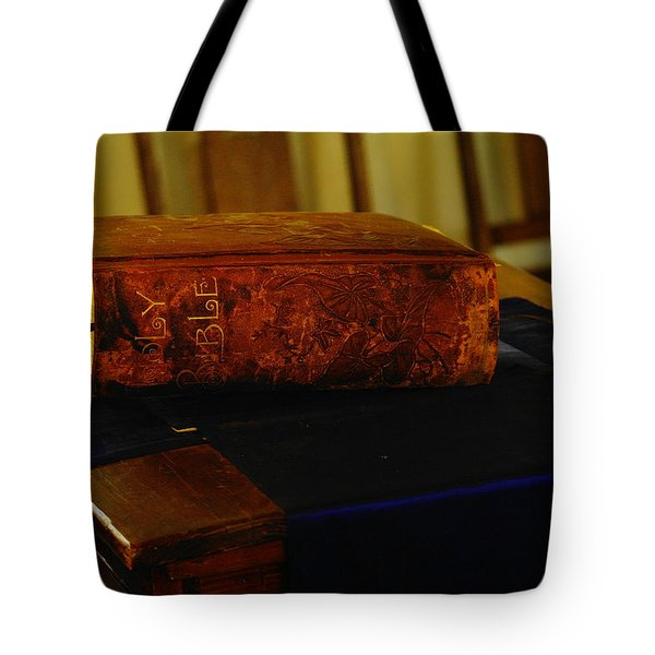 Holy Bible In Lincoln City Tote Bag by Jeff Swan