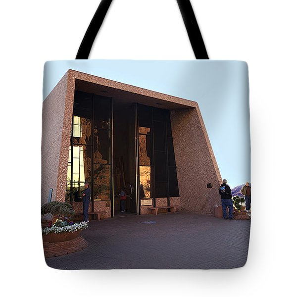 Holy Cross Or Red Rock Chapel Rear View Tote Bag by Bob and Nadine Johnston