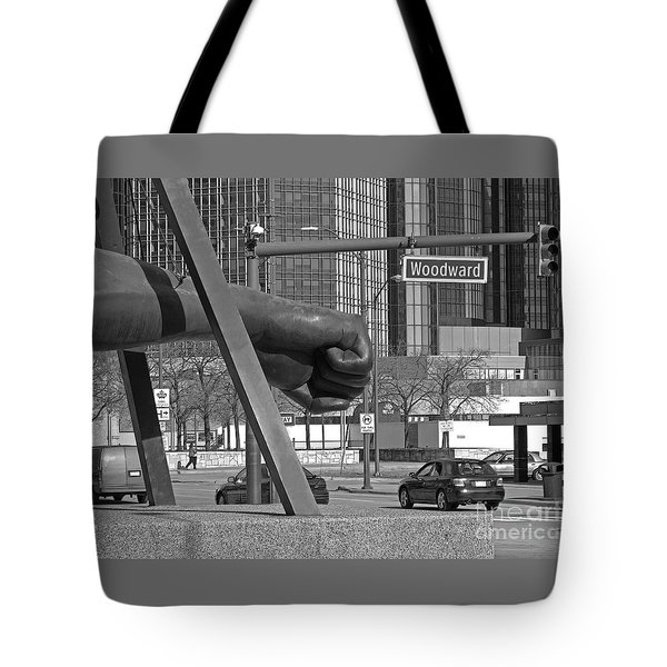 Homage to Joe Louis bw Tote Bag by Ann Horn