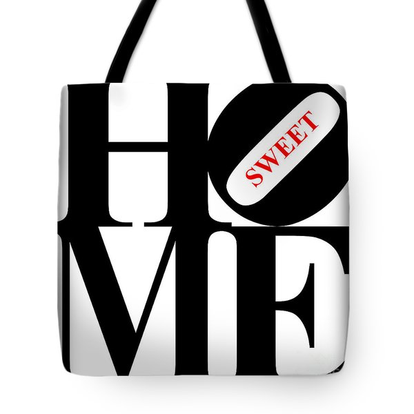 Home Sweet Home 20130713 Black White Red Tote Bag by Wingsdomain Art and Photography