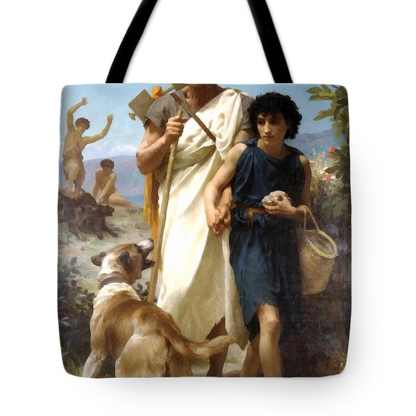 Homer And His Guide Tote Bag by William Bouguereau