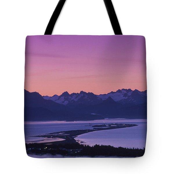 Homer Spit Sunset Kenai Mtns Kenai Tote Bag by Jeff Schultz