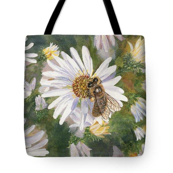 Honeybee On White Aster Tote Bag by Lucinda V VanVleck