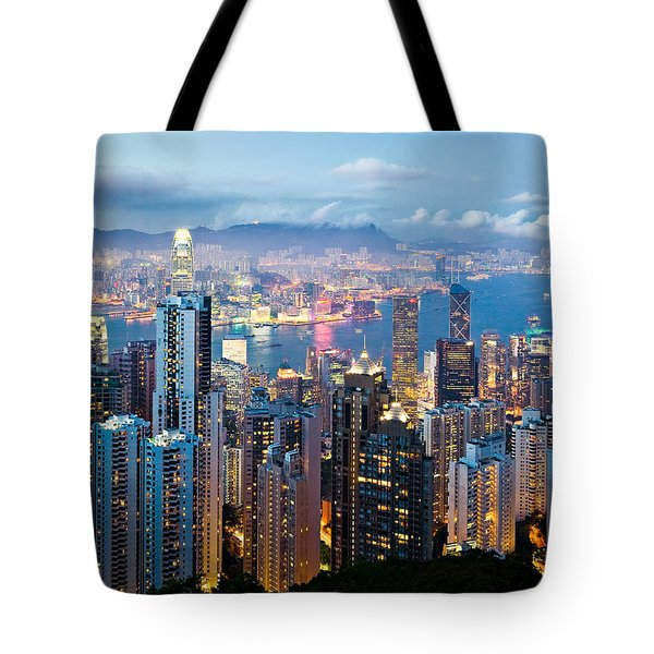 Hong Kong At Dusk Tote Bag by Dave Bowman