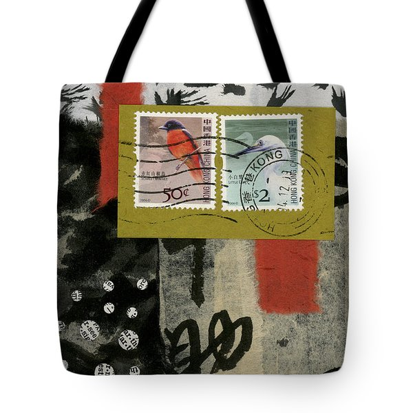 Hong Kong Postage Collage Tote Bag by Carol Leigh