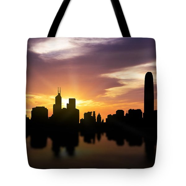 Hong Kong Sunset Skyline  Tote Bag by Aged Pixel