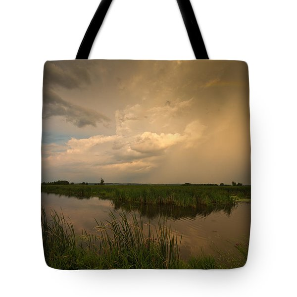 Horicon Marsh Storm Tote Bag by Steve Gadomski