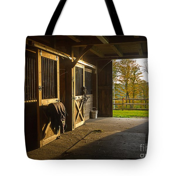 Horse Barn Sunset Tote Bag by Edward Fielding